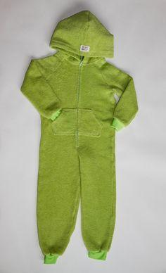 EZ Dry Onezie in green. The original children's towel onesie.