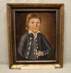 Antique 18thC Folk Art O/C  Primitive Portrait Oil Painting Boy in Blue Jacket #Americana