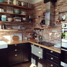 Uplifting Kitchen Remodeling Choosing Your New Kitchen Cabinets Ideas. Delightful Kitchen Remodeling Choosing Your New Kitchen Cabinets Ideas. Kitchen Interior, Brick Kitchen, Exposed Brick Kitchen, Kitchen Remodel, Kitchen Decor, Rustic Kitchen Cabinets, Home Kitchens, Rustic Kitchen, Kitchen Design