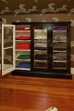 Sam allen interiors, Glass Cabinet for Clothing, Painted Black cabinet Dresser