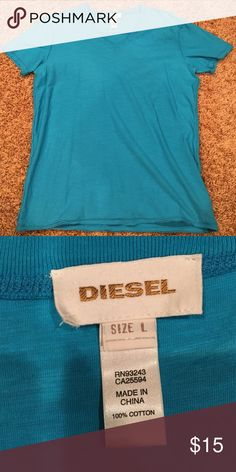 Diesel V-Neck T-Shirt (Blue) Blue Diesel Large blue v-neck t-shirt Diesel Shirts Tees - Short Sleeve