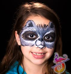 How cute is this raccoon mask sized face painting?! Perfect for boys and girls, especially for a Guardians of the Galaxy themed party. #firebirdbodyart