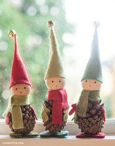 Felt and Pine Cone Elves // Elfos con piñas y fieltro  #christmas #navidad #xmas #decor #diy
