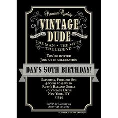 50th Vintage Birthday Invitations Personalized 40th Parties