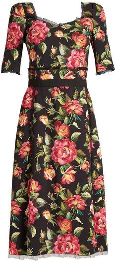 DOLCE & GABBANA Rose-print tulle-trimmed cady dress