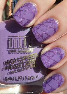 Subtle Stamping    Lines, abstract, purple, glitter, nail color
