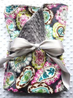 "Baby Girl Large 30"" x 36"" Stroller Blanket in Roco Beat Paisley Fuschia, Aqua, Teal, Gray, Lime Green - Minky Dot Gray Chenille & Cotton. $34.00, via Etsy."