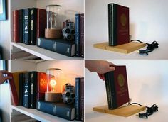 Pull out a book, and turn on the light!  It's like a secret passageway, illumination style!