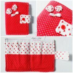Carteira em tecido - Lover 1 - Branco corações e Vermelho poá