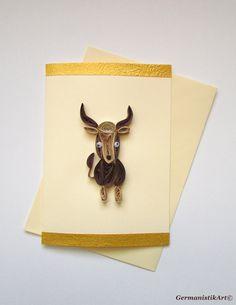 Carte de voeux Taurus Card carte d'anniversaire par GermanistikArt