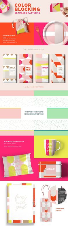 Color Blocking Patterns by Youandigraphics on @creativemarket