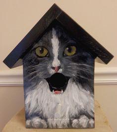 BIRD HOUSE - Birdhouse Handpainted Wood Custom Made for the Cat Lover