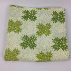 VTG Full Flat Bed Sheet Green Mod Cheater Quilt 70s Perma Prest Sears Muslin #SearsPermaPrest
