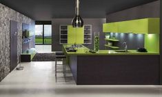 Green Laminate on Cabinets is continued across counter and down one side like a ribbon of color