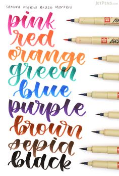 The flexible tip of the Sakura Pigma Brush Pen responds to pressure and changes in direction, allowing you to write in varying line widths.