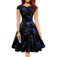 Vintage Women Floral Short Sleeve 50s 60s Pinup Rockabilly Dresses Casual Party Cocktail Flared Swing Dress Vestido