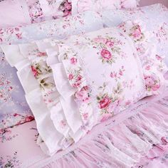 Items similar to White Pink Roses Layered Ruffle Cotton Pillowcase Victorian Shabby Cottage Princess French Parisian Pillow Sham on Etsy Camas Shabby Chic, Shabby Chic Cottage, Shabby Chic Homes, Shabby Chic Decor, Shabby Chic Pillows, Target Shabby Chic Bedding, White And Pink Roses, Beautiful Pink Roses, Pink Soft
