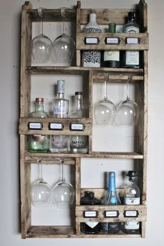 Gin rack, 9 bottles & 6 goblet glasses storage rack - Home Ideas :) - Schnaps Alcohol Storage, Liquor Storage, Storage Rack, Storage Ideas, Alcohol Bottles, Gin Bottles, Bottle Display, Bottle Rack, Bar Shelves