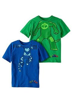 4f0cece7 PJ Masks T-Shirt Short Sleeve 2 Pack of Catboy and Gekko Headless Kids Gift