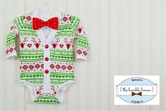 Christmas/Holiday Baby Preppy Cardigan and Bow by TheHumbleLemon