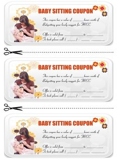 Babysitting Coupon Book Template   Babysitting Coupon Book