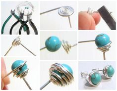 Free DIY: Wire Wrapped Bead Stud Earrings from KreatívVagyok.hu featured in recent Sova-Enterprises.com Newsletter!