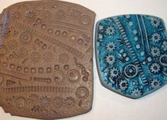more home-made texture plates, made out of scrap polymer clay impressed with objects or drawn into, then baked.