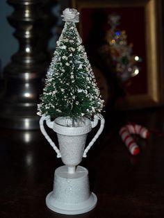 Fun Home Made Bottle Brush Tree In Glittery Trophy Winter Decor-D