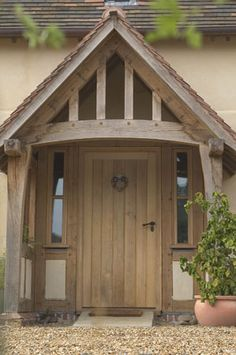 50 Custom Design Wooden Porch You Can Use On Your Home Page – Decoration ideas Oak Doors, Entrance Doors, Entrance Ideas, House With Porch, House Front, Building A Porch, Building A House, Border Oak, Front Door Porch