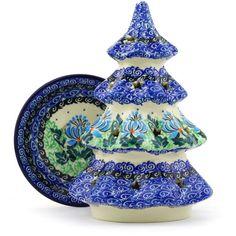 Polish Pottery 8-inch Christmas Tree Candle Holder | Boleslawiec Stoneware | Polmedia H5597E