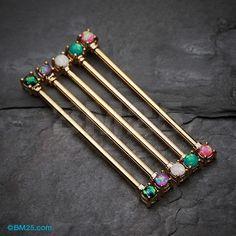 Golden Opal Sparkle Prong Industrial Barbell