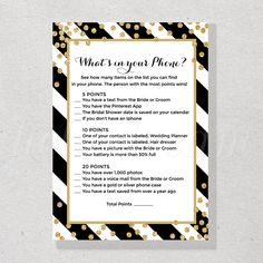 whats in your phone printable gold confetti bridal shower game black and white stripes engagement p kate spade inspired party ideasbridal shower in