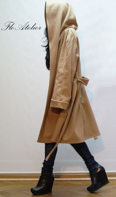 Hooded Long Wool Coat/ Winter Cape Coat /Cashmere Poncho Coat /Long Sleeve trench Coat/ Jacket for Women/ Hooded Wool Poncho Coat, Cashmere Poncho, Cape Coat, Grey Trench Coat, Beige Coat, Stylish Winter Coats, Winter Coats Women, Winter Cape, Long Wool Coat