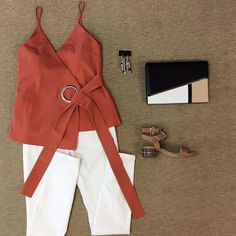WEBSTA @ effiesinc - You can go work or play with this #Lookoftheday! A white skinny and this burnt sinenna top are perfect  for the changing seasons! #stylesquad #workhardplayhard #fallready #seeyasummer