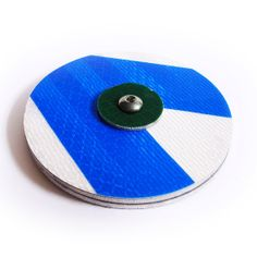 Blue Cyclesign Wheel Reflector  Small  $19.60 by cyclesign on Etsy Handmade Materials: reused road signs, felt, stainless steel, aluminium