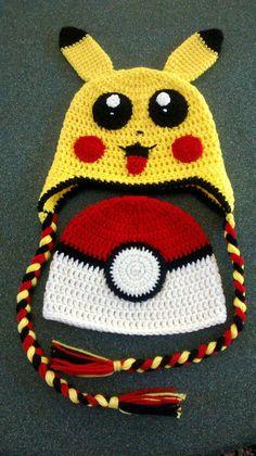 Crochet Pokemon Ball Hat/Pikachu Hat by Maiwear on Etsy Crochet Kids Hats, Crochet Beanie Hat, Crochet Cap, Crochet For Boys, Crochet Crafts, Crochet Projects, Pikachu Hat, Pokemon Hat, Pikachu Crochet