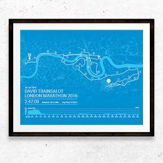 Personalised London Marathon Poster / Momento / by Sleepydogdesign