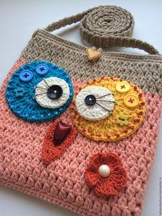 Купить Сумочка для девочки вязаная Совунья - кремовый, абстрактный, сумочка ручной работы, сумочка крючком