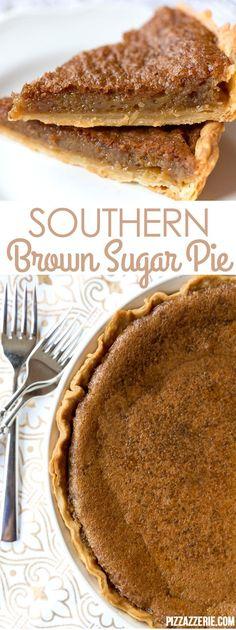Southern Brown Sugar Pie Recipe, Must Try Dessert Southern Brown Sugar Pie! If you've never tried this brown sugar pie, it's a must! Köstliche Desserts, Delicious Desserts, Dessert Recipes, Yummy Food, Sweet Desserts, Holiday Desserts, Holiday Pies, Christmas Recipes, Holiday Recipes