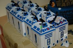 Fun R2D2 favors at a Star Wars birthday party!  See more party planning ideas at CatchMyParty.com!