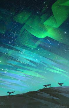 The northern lights Of Wallpaper, Wallpaper Backgrounds, Landscape Art, Aesthetic Wallpapers, Digital Illustration, Framed Art Prints, Amazing Art, Fantasy Art, Cool Pictures