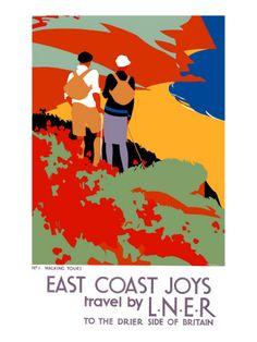 Vintage LNER East Coast Joys Walking Tours Railway Poster Print A3//A4