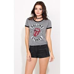 Rolling Stones Cropped Ringer Tee ($20) ❤ liked on Polyvore featuring tops, t-shirts, charcoal, scoop-neck tees, short sleeve crop top, scoop neck tee, scoop neck t shirt and short sleeve tee