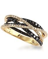 Caviar by EFFY Black (1/2 ct. t.w.) and White (1/2 ct. t.w.) Diamond Crossover Ring in 14k Gold