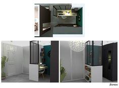 Aménagement d'un bureau dans une entrée d'un appartement. Planning, Bathroom Lighting, Lockers, Locker Storage, Sweet Home, 3d, Cabinet, How To Plan, Mirror