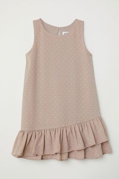 H&M Flounced Dress - Taupe/pink dotted - KidsSleeveless dress in woven fabric with a printed pattern. Flounce at hem, doubled at front.Girls Dresses and Skirts - A wide selectionWelcome to H&M, we offer fashion and quality clothing at the best price Baby Girl Dress Patterns, Baby Dress Design, Frock Design, Kids Dress Wear, Little Girl Dresses, Girls Dresses, Baby Dresses, Dress Girl, Dot Dress