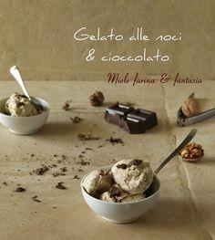 Può essere realizzato anche #senzagelatiera e #noncontieneuova, #gelato alle #noci con golosissime #scagliedicioccolato fondente. Gelato, Oreo, Cereal, Pudding, Ice Cream, Breakfast, Desserts, Fantasy, No Churn Ice Cream