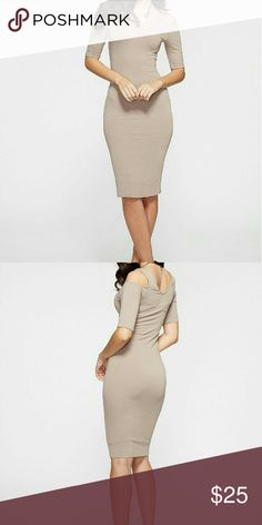 """Plus Cold Shoulder Midi dress, XXXL NWT Very cute and firm fitting. Taupe color. NWT  (added stock photo to show style of dress).  Great quality; has second layer/slip underneath.   Please see size chart image for measurements.   Curve-hugging bodycon midi dress  Material: Rayon/Spandex Made in USA Regular Length (42"""") Dresses Midi"""