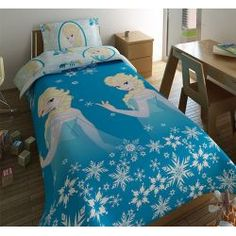Parure de lit la Reine des Neiges composée d'une housse de couette et d'une taie à l'effigie d'Elsa. Petit prix ! #paruredelitreinedesneige #houssedecouettefille #decoreinedesneiges