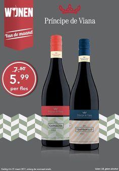 Deze maand hebben we twee mooie Spaanse rode wijnen van Principe de Viana in de aanbieding en gekozen tot wijnen van de maand.  Deze rode wijnen zijn heerlijk om zo te drinken maar passen ook uitstekend bij gegrild vlees, pasta, paella of kaas. in de actie tm 31-03-17